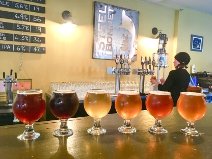 Flight at Steel Bonnet - from left to right: Auld Codger (80 Shillings / Collab with East Cliff Brewing Co.), Bear Creek (brown ale), Conski (cream ale), Hop the Heck (IPA), English Rose (English Pale Ale), Kiss Me Hardy (English IPA)