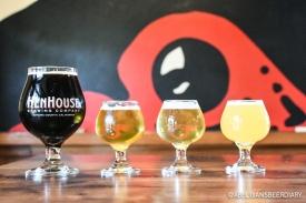From left to right: Pure Black (black saison), Saison (w/ black pepper and coriander), Loretta (kettle-sour grisette), Hollow Moon (IPA w/ Mosaic and Sorachi Ace hops)