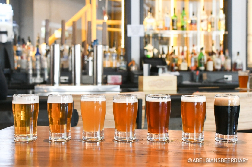 Off the Rails' current line-up (from left to right): Loco Motive Mexican Lager, Live Wire Pre-Prohibition Lager, Long Haul Hefeweizen, Derailed Pale Ale, Rose Rail Irish Red Ale, Commuter IPA, Ghost Rail Oatmeal Stout