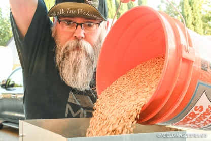 Matthew Rush, regular at Taplands, is helping with milling